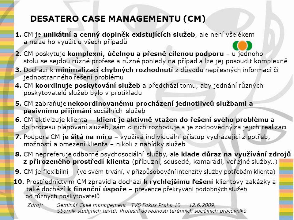 DESATERO CASE MANAGEMENTU (CM) 1. CM je unikátní a cenný doplněk existujících služeb, ale není všelékem a nelze ho využít u všech případů 2. CM poskyt