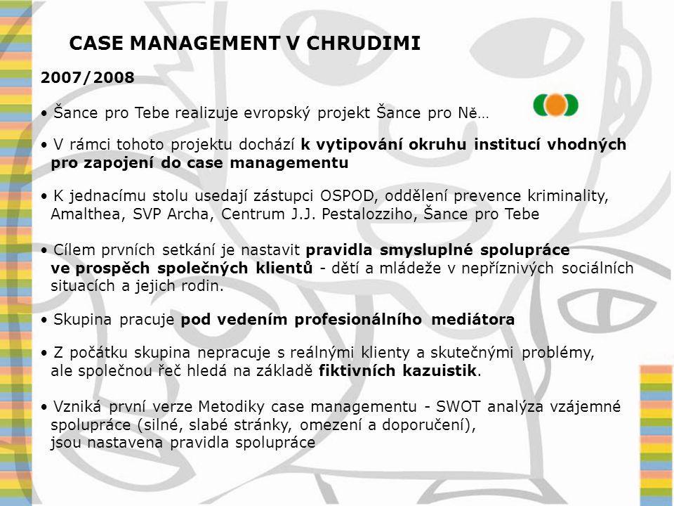 CASE MANAGEMENT V CHRUDIMI 2008/2009 • Šance pro Tebe realizuje další evropský projekt a pokračuje ve vedení a koordinaci práci skupiny case managementu • Skupina se schází cca 1x za 2 – 3 měsíce • Ověřuje a upravuje nastavená pravidla spolupráce • Pracuje na metodice • Začíná řešit první společné případy