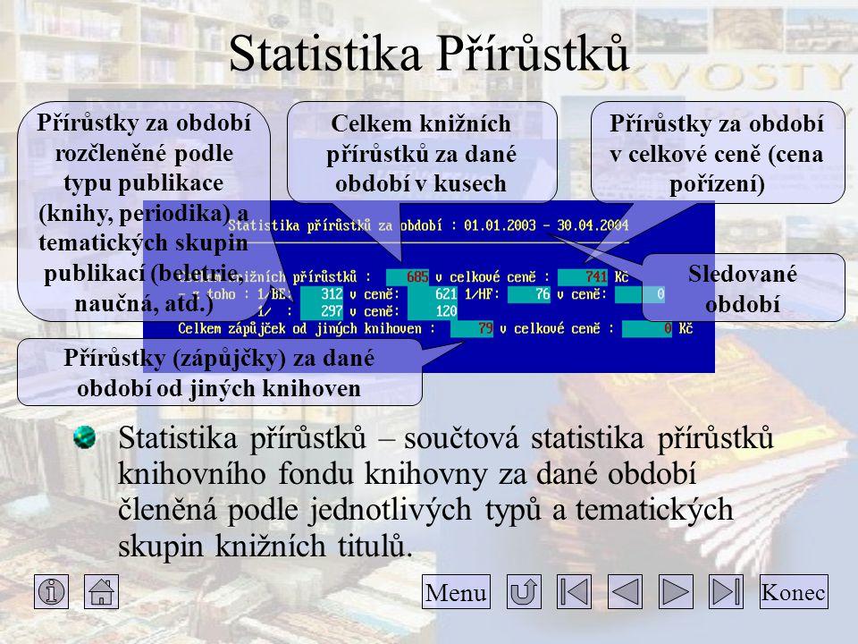 Statistika Přírůstků Statistika přírůstků – součtová statistika přírůstků knihovního fondu knihovny za dané období členěná podle jednotlivých typů a tematických skupin knižních titulů.