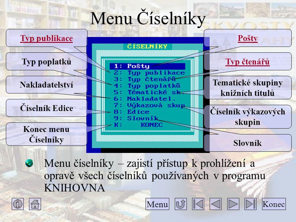 Menu Číselníky Menu číselníky – zajistí přístup k prohlížení a opravě všech číselníků používaných v programu KNIHOVNA Konec Menu Pošty Typ čtenářů Tem