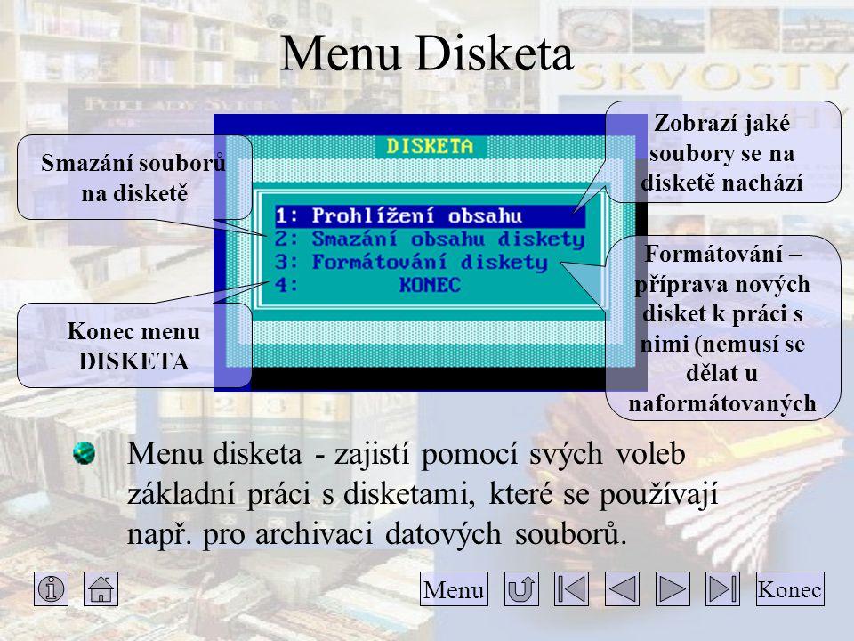 Menu Disketa Menu disketa - zajistí pomocí svých voleb základní práci s disketami, které se používají např. pro archivaci datových souborů. Konec Menu