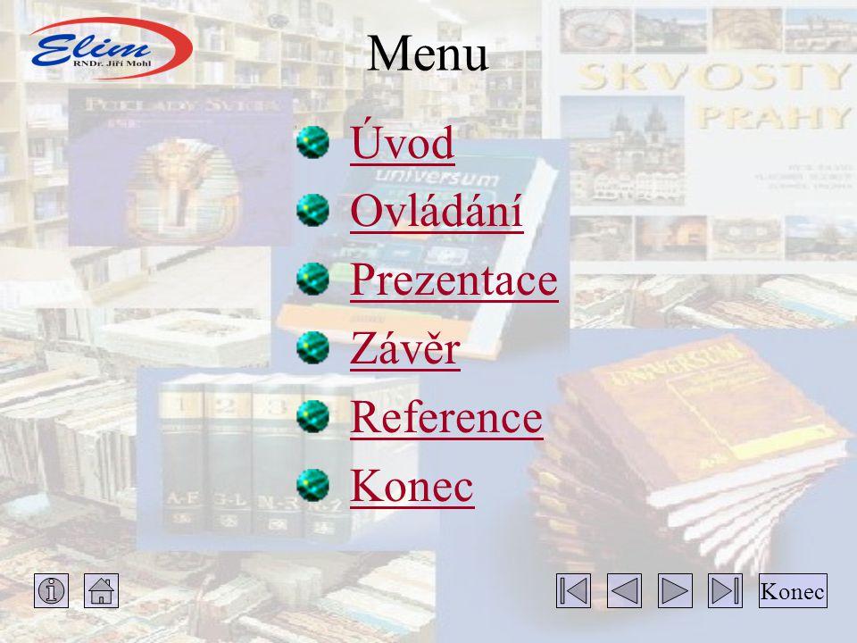 Hlavní Hlavní menu Hlavni menu - pomocí jeho voleb je ovládán celý program KNIHOVNA.