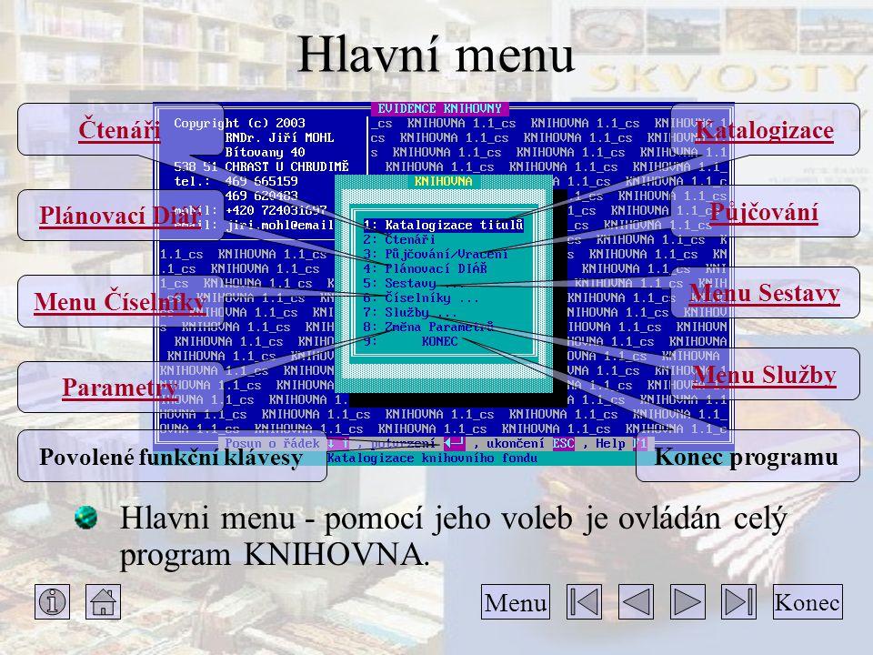 Hlavní Hlavní menu Hlavni menu - pomocí jeho voleb je ovládán celý program KNIHOVNA. Katalogizace Konec Menu Čtenáři Půjčování Plánovací Diář Menu Ses