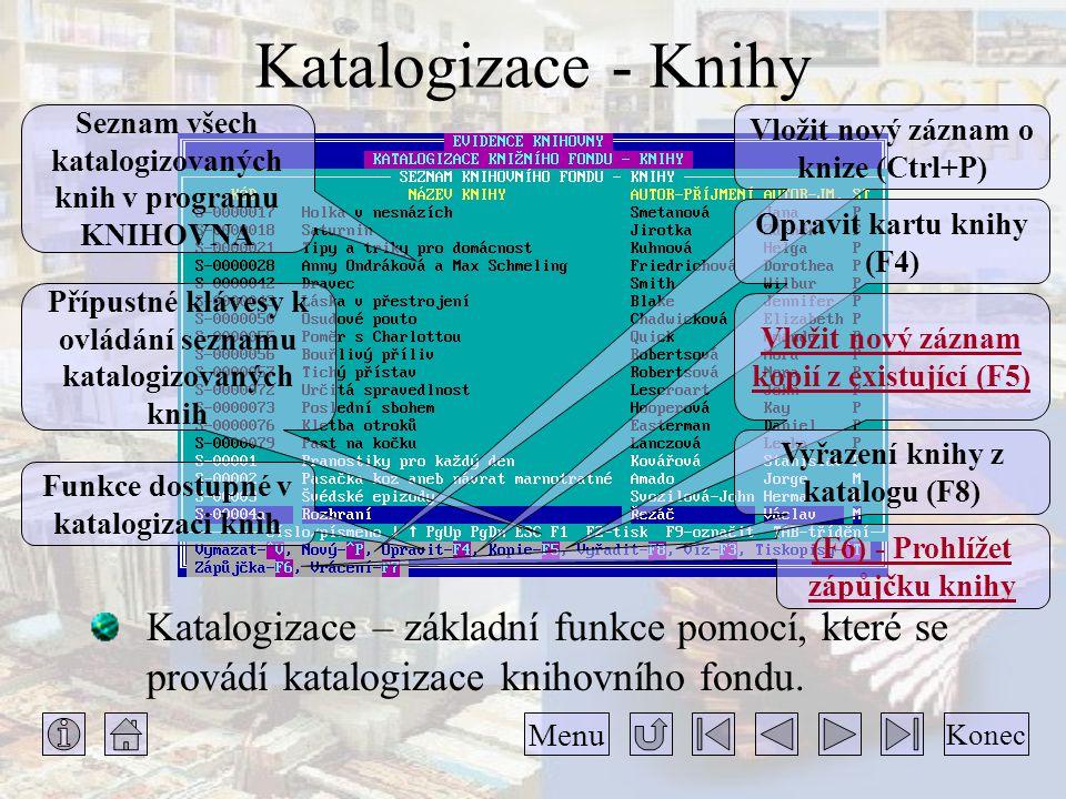 Katalogizace - Knihy Katalogizace – základní funkce pomocí, které se provádí katalogizace knihovního fondu. Konec Menu Seznam všech katalogizovaných k