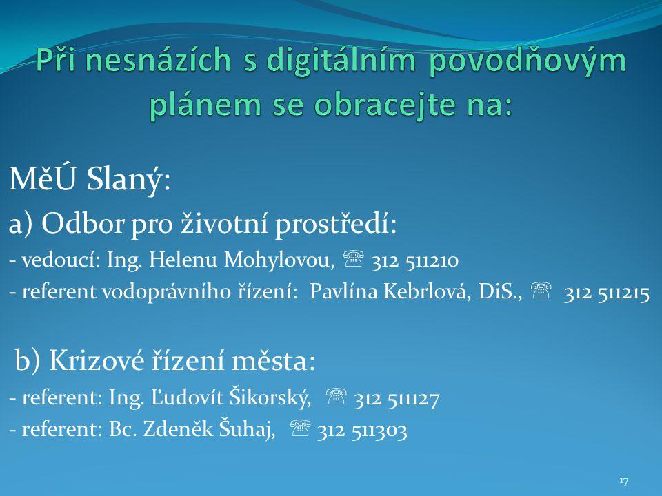 MěÚ Slaný: a) Odbor pro životní prostředí: - vedoucí: Ing. Helenu Mohylovou,  312 511210 - referent vodoprávního řízení: Pavlína Kebrlová, DiS.,  31