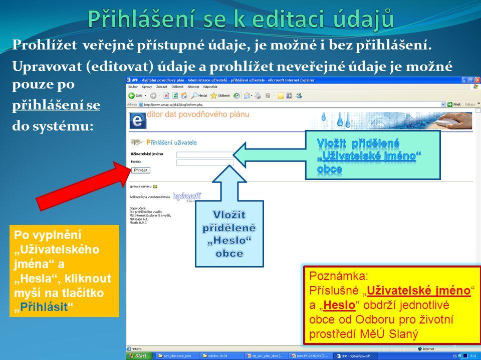 Prohlížet veřejně přístupné údaje, je možné i bez přihlášení. Upravovat (editovat) údaje a prohlížet neveřejné údaje je možné pouze po přihlášení se d