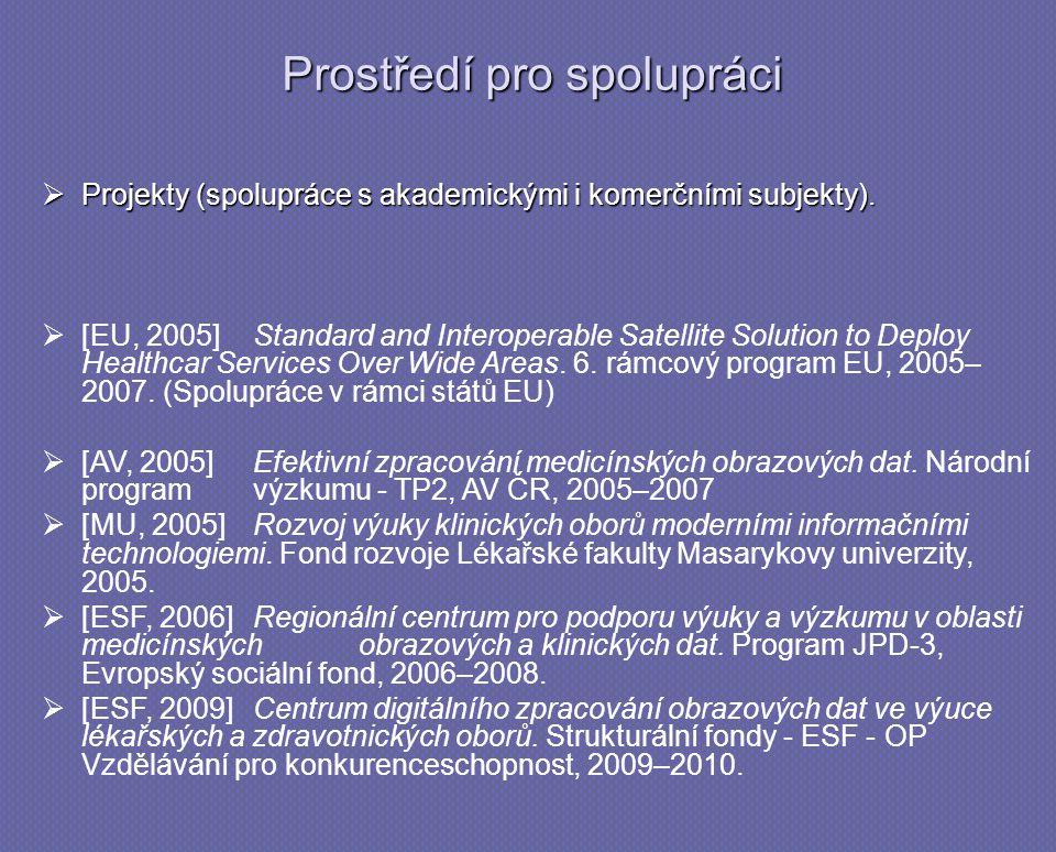 Prostředí pro spolupráci  Projekty (spolupráce s akademickými i komerčními subjekty).   [EU, 2005]Standard and Interoperable Satellite Solution to