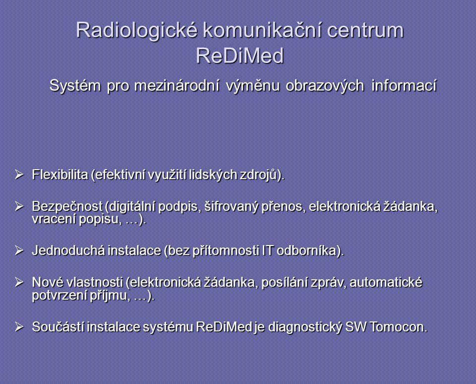 Radiologické komunikační centrum ReDiMed Systém pro mezinárodní výměnu obrazových informací  Flexibilita (efektivní využití lidských zdrojů).  Bezpe