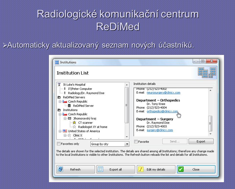 Radiologické komunikační centrum ReDiMed  Automaticky aktualizovaný seznam nových účastníků.
