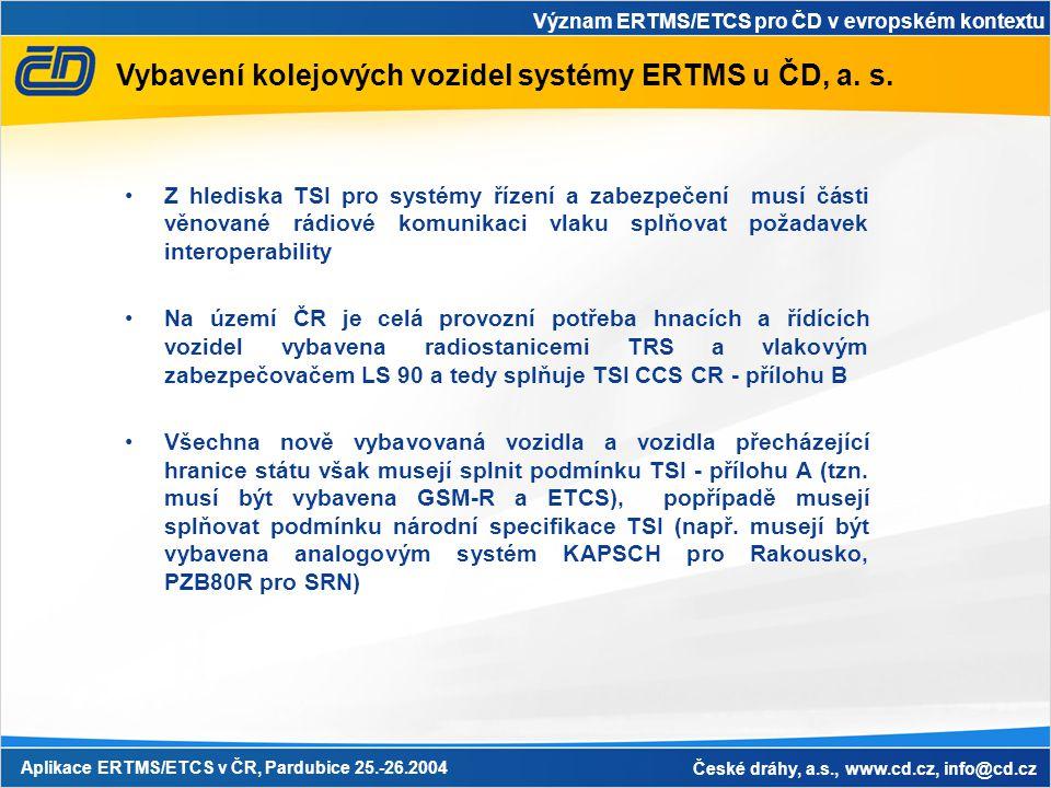 Význam ERTMS/ETCS pro ČD v evropském kontextu Aplikace ERTMS/ETCS v ČR, Pardubice 25.-26.2004 České dráhy, a.s., www.cd.cz, info@cd.cz Vybavení kolejo