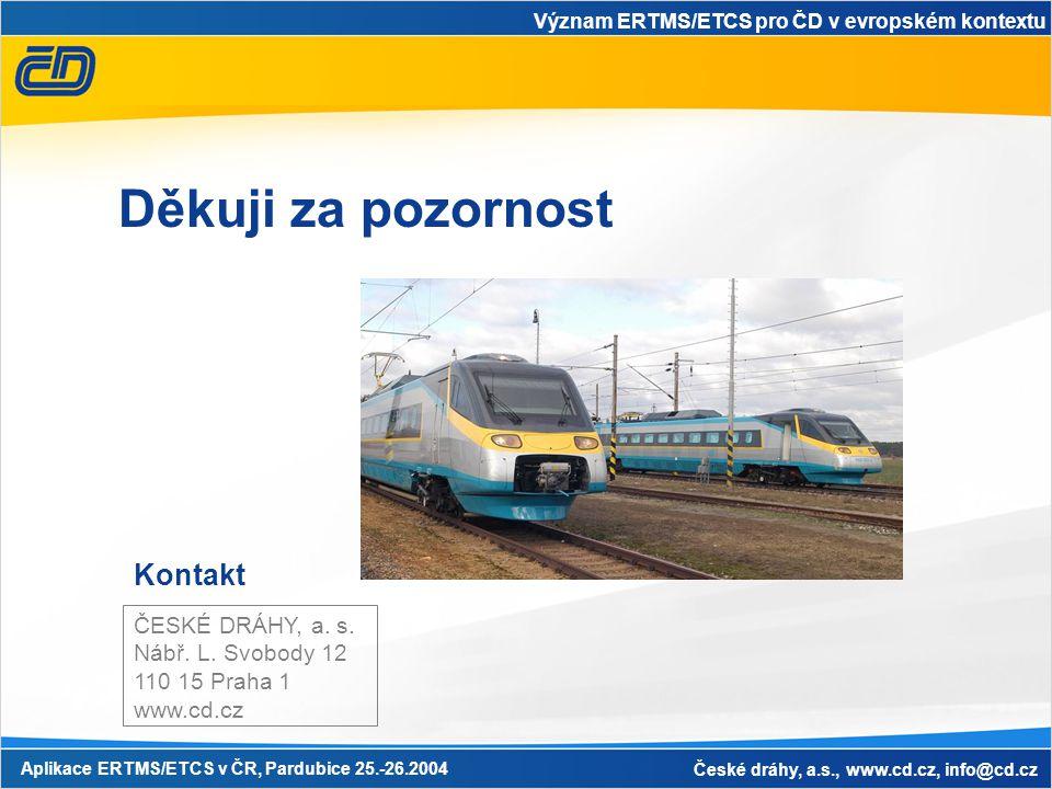 Význam ERTMS/ETCS pro ČD v evropském kontextu Aplikace ERTMS/ETCS v ČR, Pardubice 25.-26.2004 České dráhy, a.s., www.cd.cz, info@cd.cz Kontakt ČESKÉ DRÁHY, a.