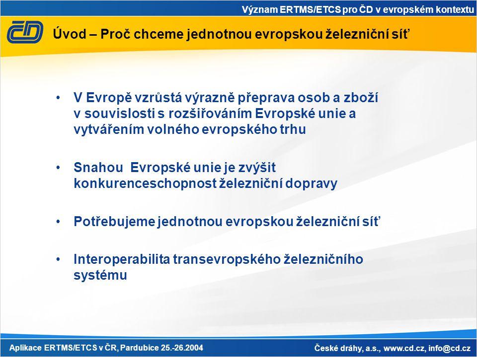 Význam ERTMS/ETCS pro ČD v evropském kontextu Aplikace ERTMS/ETCS v ČR, Pardubice 25.-26.2004 České dráhy, a.s., www.cd.cz, info@cd.cz Úvod – Proč chc