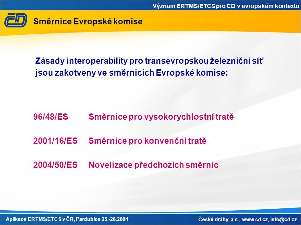 Význam ERTMS/ETCS pro ČD v evropském kontextu Aplikace ERTMS/ETCS v ČR, Pardubice 25.-26.2004 České dráhy, a.s., www.cd.cz, info@cd.cz Směrnice Evropské komise Zásady interoperability pro transevropskou železniční síť jsou zakotveny ve směrnicích Evropské komise: 96/48/ES Směrnice pro vysokorychlostní tratě 2001/16/ES Směrnice pro konvenční tratě 2004/50/ES Novelizace předchozích směrnic