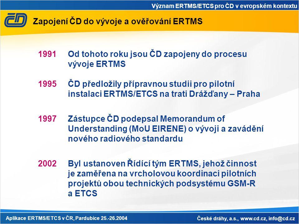 Význam ERTMS/ETCS pro ČD v evropském kontextu Aplikace ERTMS/ETCS v ČR, Pardubice 25.-26.2004 České dráhy, a.s., www.cd.cz, info@cd.cz Zapojení ČD do