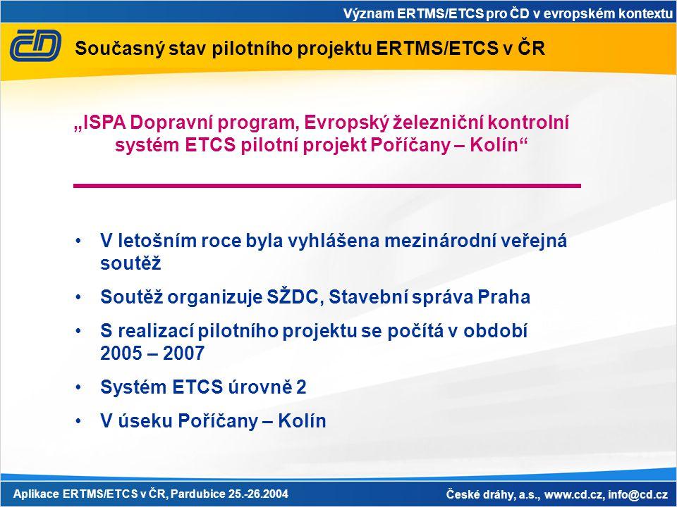 Význam ERTMS/ETCS pro ČD v evropském kontextu Aplikace ERTMS/ETCS v ČR, Pardubice 25.-26.2004 České dráhy, a.s., www.cd.cz, info@cd.cz Současný stav p