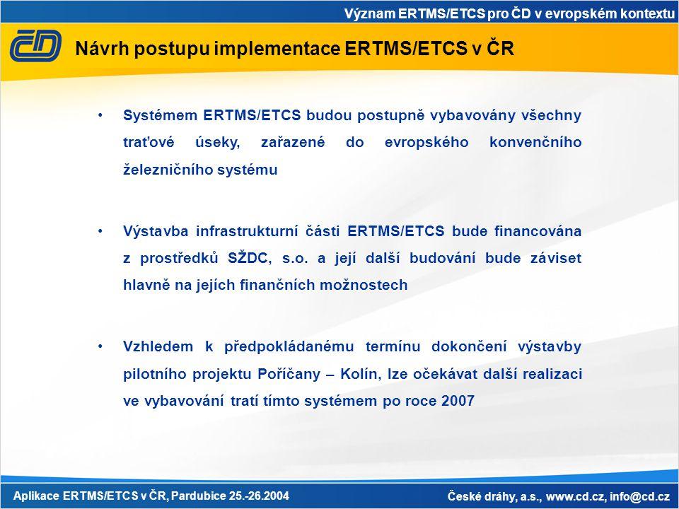 Význam ERTMS/ETCS pro ČD v evropském kontextu Aplikace ERTMS/ETCS v ČR, Pardubice 25.-26.2004 České dráhy, a.s., www.cd.cz, info@cd.cz Návrh postupu i