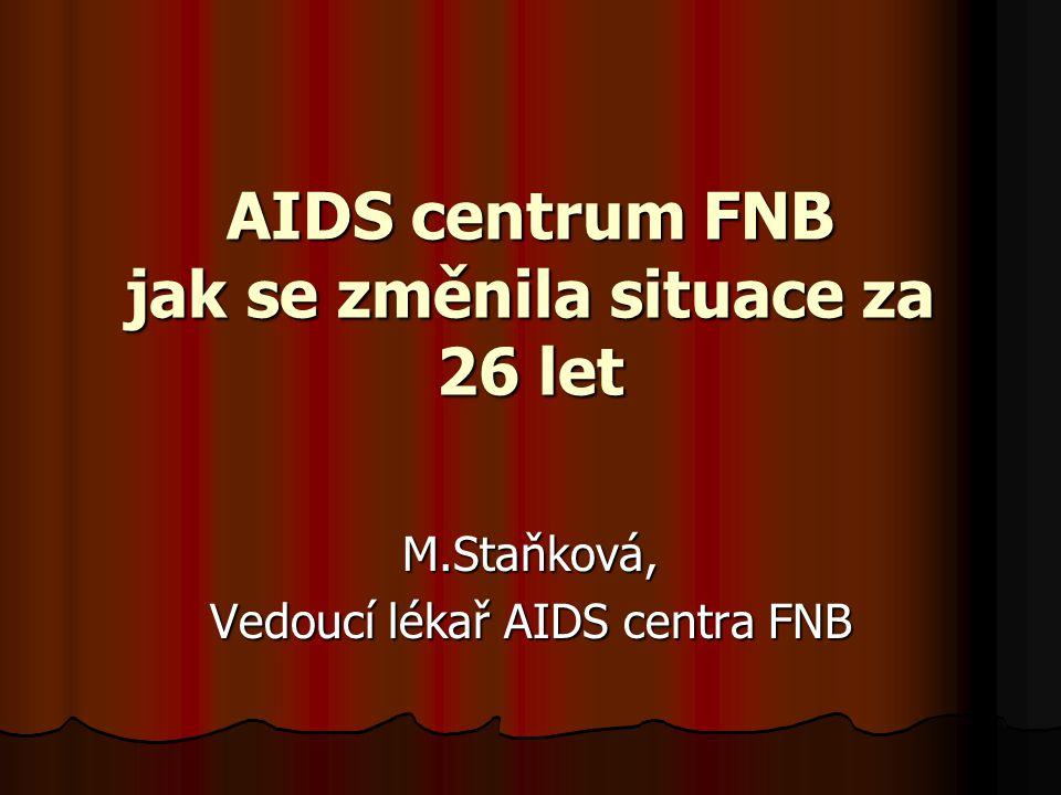 AIDS centrum FNB jak se změnila situace za 26 let M.Staňková, Vedoucí lékař AIDS centra FNB