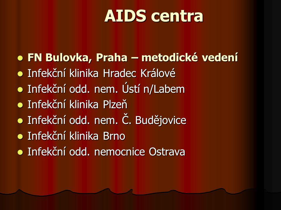 AIDS centra  FN Bulovka, Praha – metodické vedení  Infekční klinika Hradec Králové  Infekční odd. nem. Ústí n/Labem  Infekční klinika Plzeň  Infe