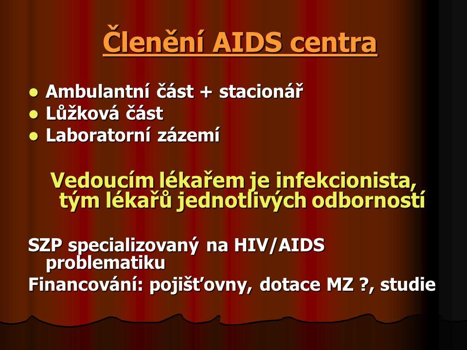Členění AIDS centra  Ambulantní část + stacionář  Lůžková část  Laboratorní zázemí Vedoucím lékařem je infekcionista, tým lékařů jednotlivých odbor