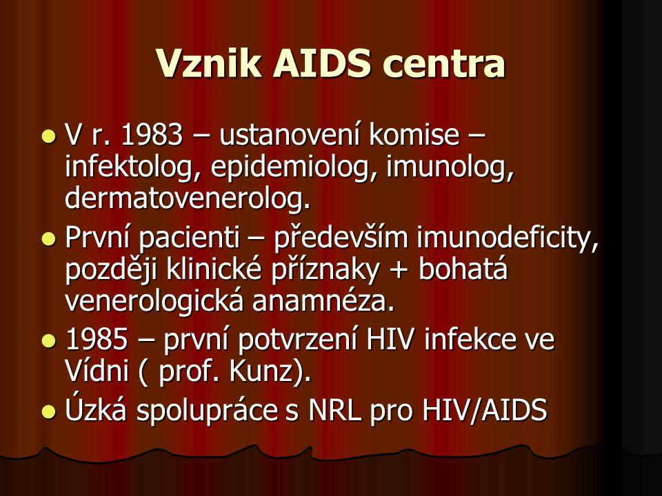 Vznik AIDS centra  V r. 1983 – ustanovení komise – infektolog, epidemiolog, imunolog, dermatovenerolog.  První pacienti – především imunodeficity, p