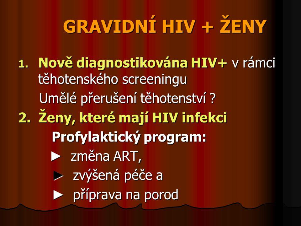 GRAVIDNÍ HIV + ŽENY 1. Nově diagnostikována HIV+ v rámci těhotenského screeningu Umělé přerušení těhotenství ? Umělé přerušení těhotenství ? 2. Ženy,