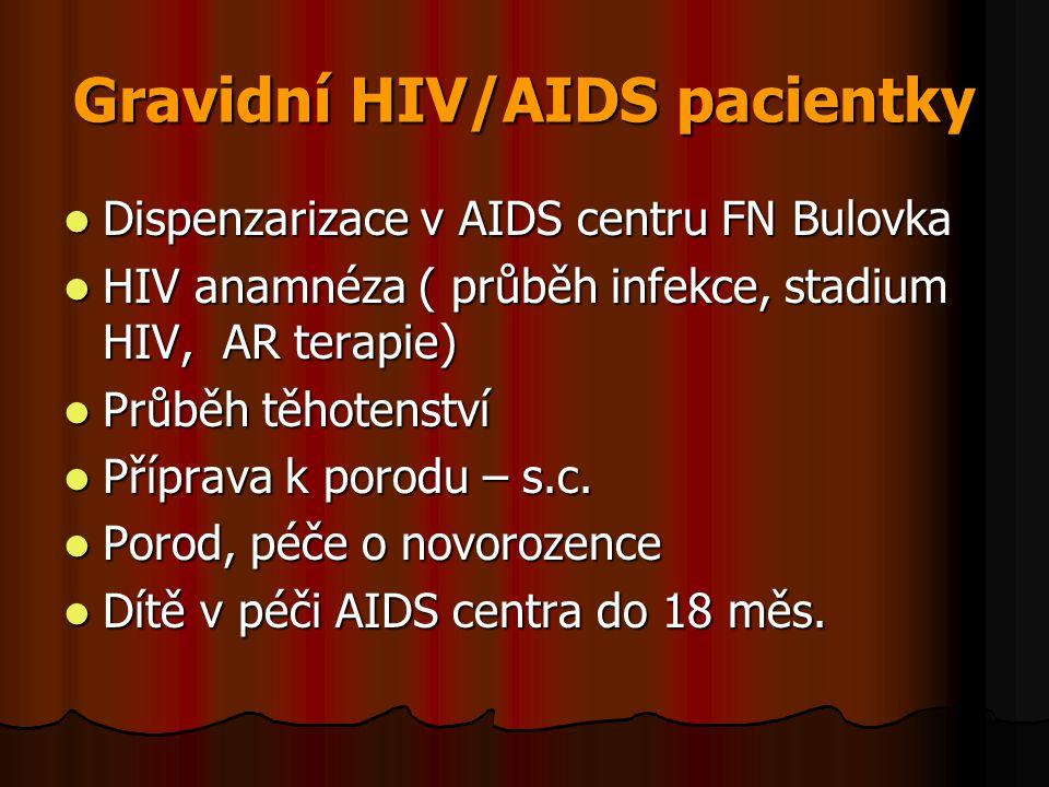 Gravidní HIV/AIDS pacientky  Dispenzarizace v AIDS centru FN Bulovka  HIV anamnéza ( průběh infekce, stadium HIV, AR terapie)  Průběh těhotenství 