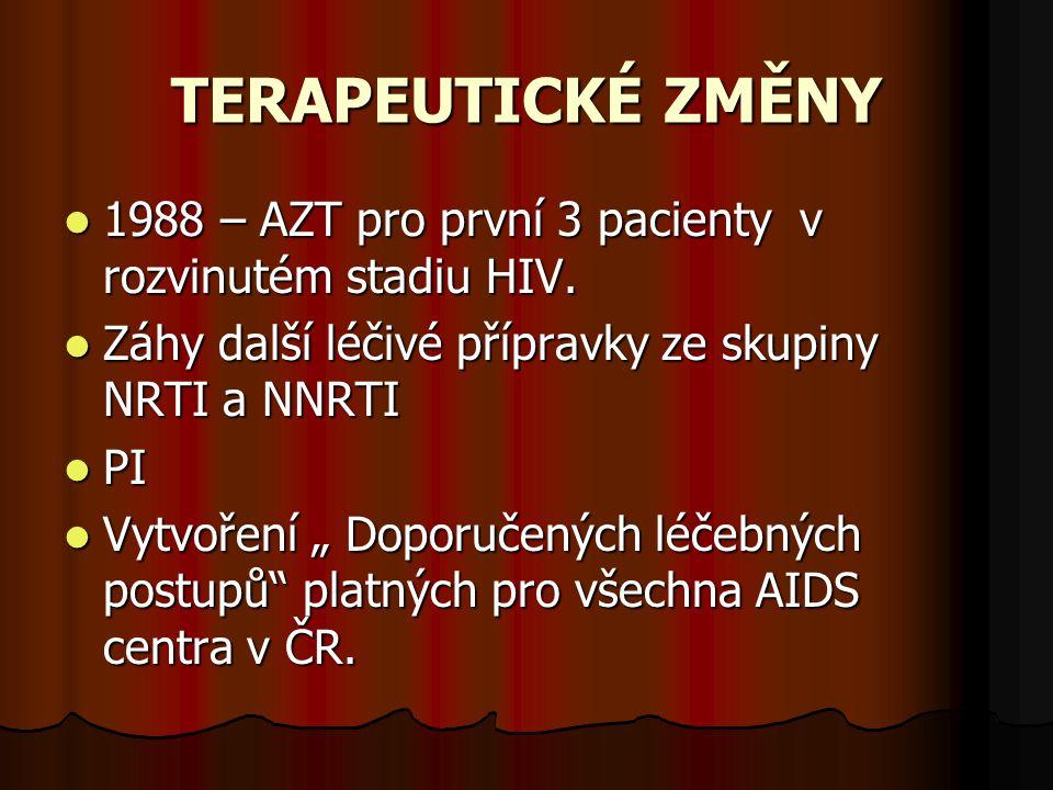 """TERAPEUTICKÉ ZMĚNY  1988 – AZT pro první 3 pacienty v rozvinutém stadiu HIV.  Záhy další léčivé přípravky ze skupiny NRTI a NNRTI  PI  Vytvoření """""""