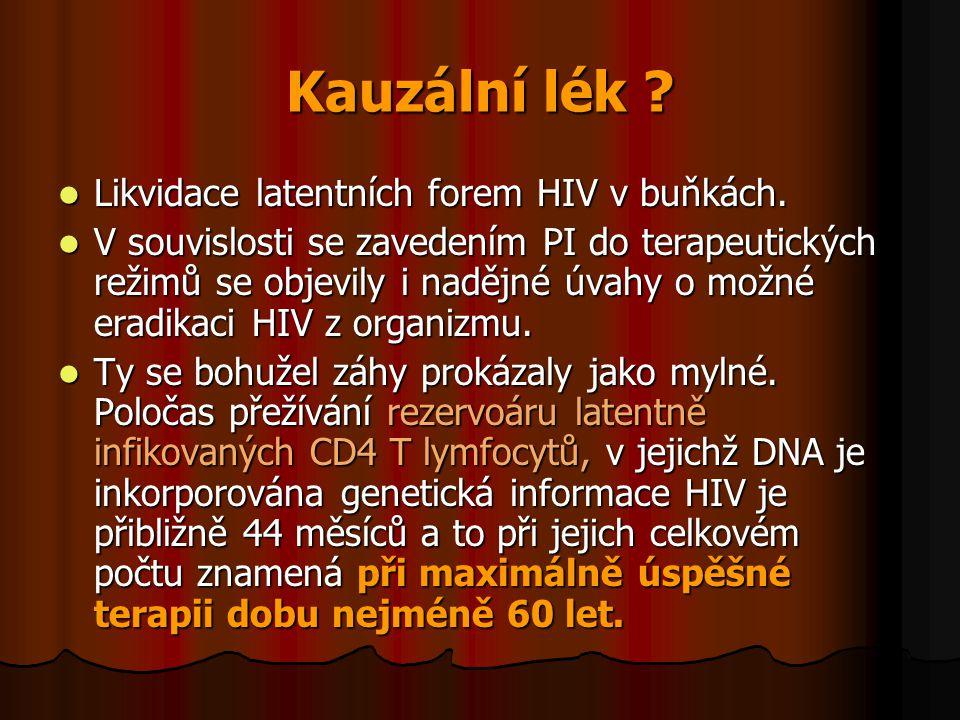 Kauzální lék ?  Likvidace latentních forem HIV v buňkách.  V souvislosti se zavedením PI do terapeutických režimů se objevily i nadějné úvahy o možn