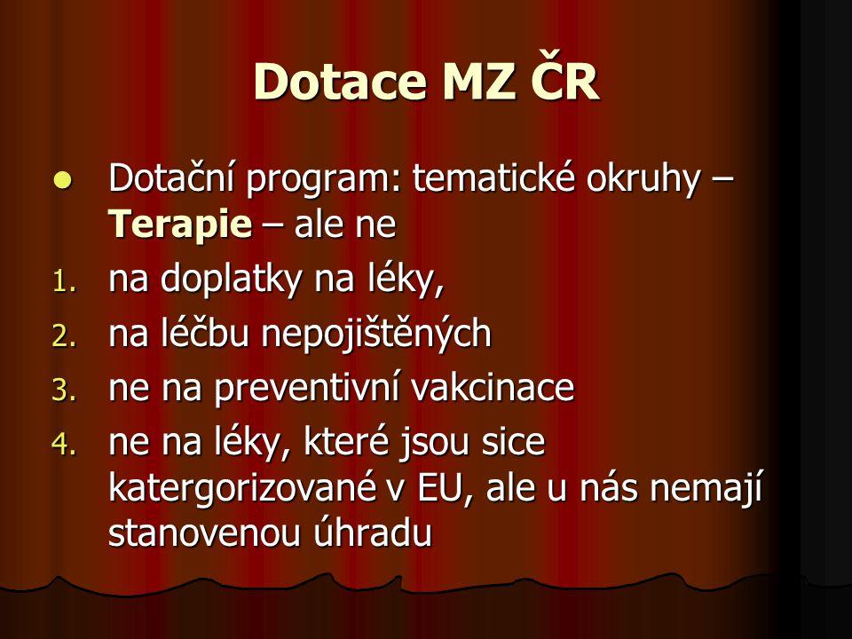 Dotace MZ ČR  Dotační program: tematické okruhy – Terapie – ale ne 1. na doplatky na léky, 2. na léčbu nepojištěných 3. ne na preventivní vakcinace 4