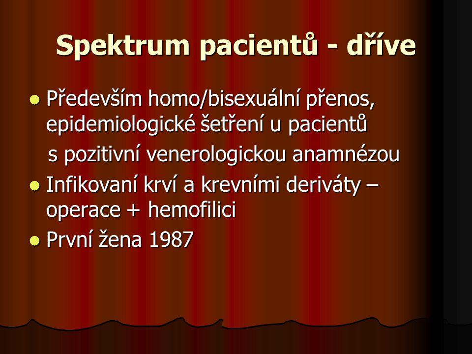 Spektrum pacientů - dříve  Především homo/bisexuální přenos, epidemiologické šetření u pacientů s pozitivní venerologickou anamnézou s pozitivní vene