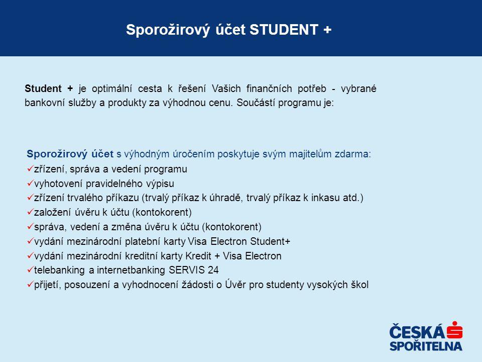 Student + je optimální cesta k řešení Vašich finančních potřeb - vybrané bankovní služby a produkty za výhodnou cenu.