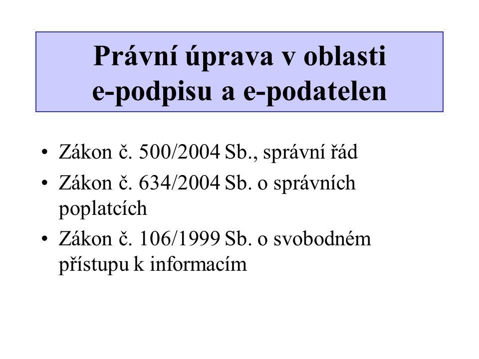 Právní úprava v oblasti e-podpisu a e-podatelen •Zákon č. 500/2004 Sb., správní řád •Zákon č. 634/2004 Sb. o správních poplatcích •Zákon č. 106/1999 S
