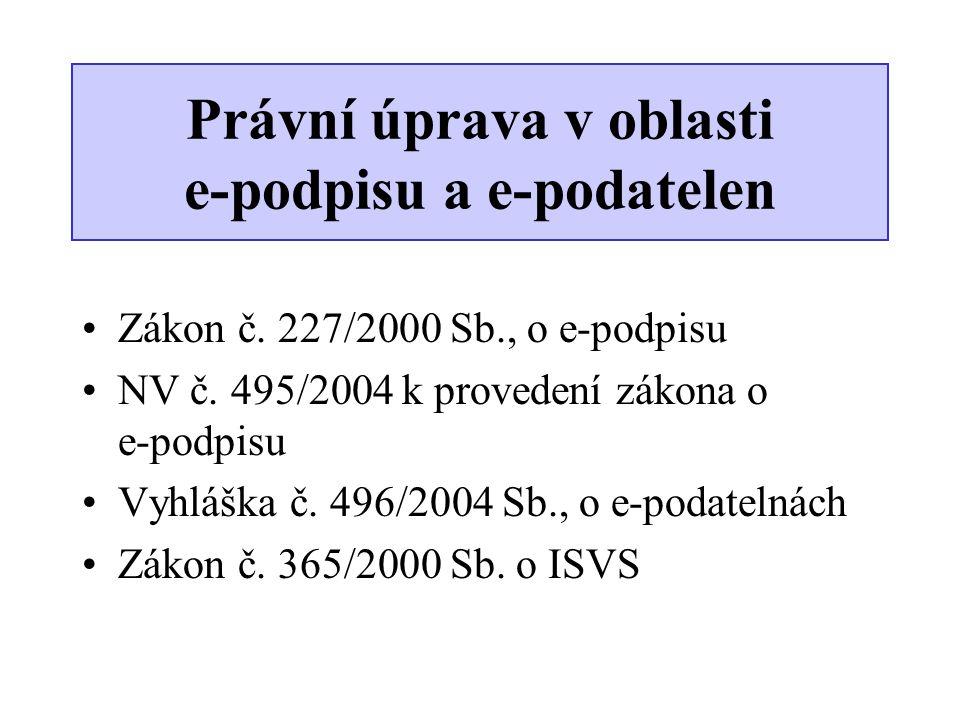 •Zákon č. 227/2000 Sb., o e-podpisu •NV č. 495/2004 k provedení zákona o e-podpisu •Vyhláška č. 496/2004 Sb., o e-podatelnách •Zákon č. 365/2000 Sb. o