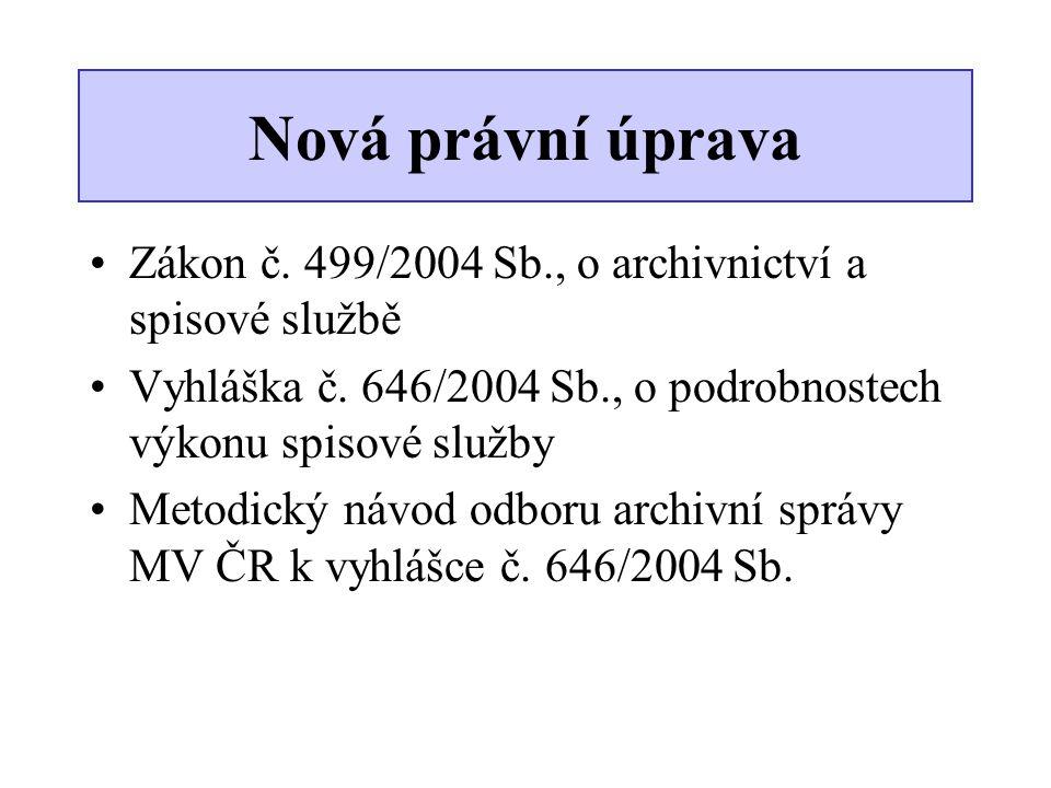 Nová právní úprava •Zákon č. 499/2004 Sb., o archivnictví a spisové službě •Vyhláška č. 646/2004 Sb., o podrobnostech výkonu spisové služby •Metodický