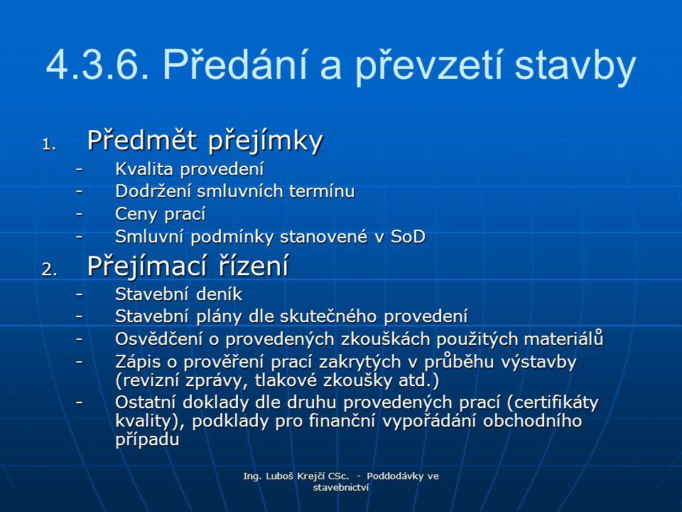 Ing.Luboš Krejčí CSc. - Poddodávky ve stavebnictví 4.3.6.