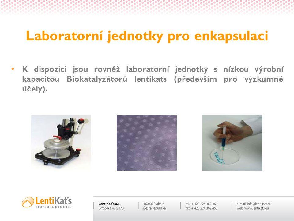 Laboratorní jednotky pro enkapsulaci • K dispozici jsou rovněž laboratorní jednotky s nízkou výrobní kapacitou Biokatalyzátorů lentikats (především pr