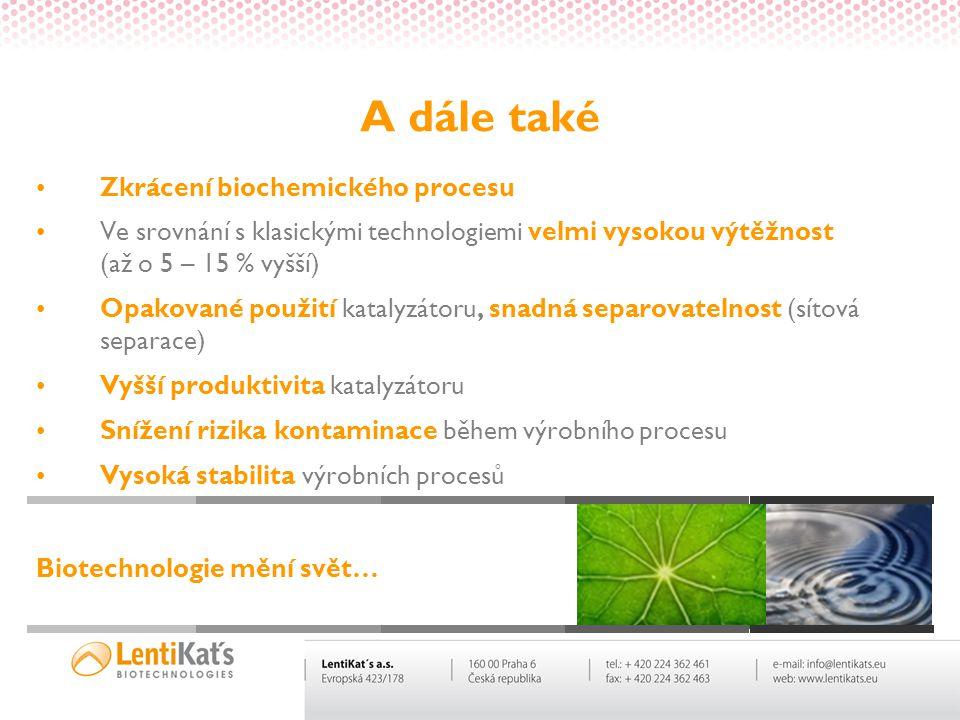 A dále také •Zkrácení biochemického procesu •Ve srovnání s klasickými technologiemi velmi vysokou výtěžnost (až o 5 – 15 % vyšší) •Opakované použití k