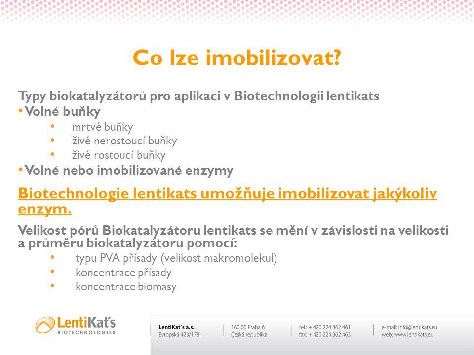 Co lze imobilizovat? Typy biokatalyzátorů pro aplikaci v Biotechnologii lentikats • Volné buňky • mrtvé buňky • živé nerostoucí buňky • živé rostoucí