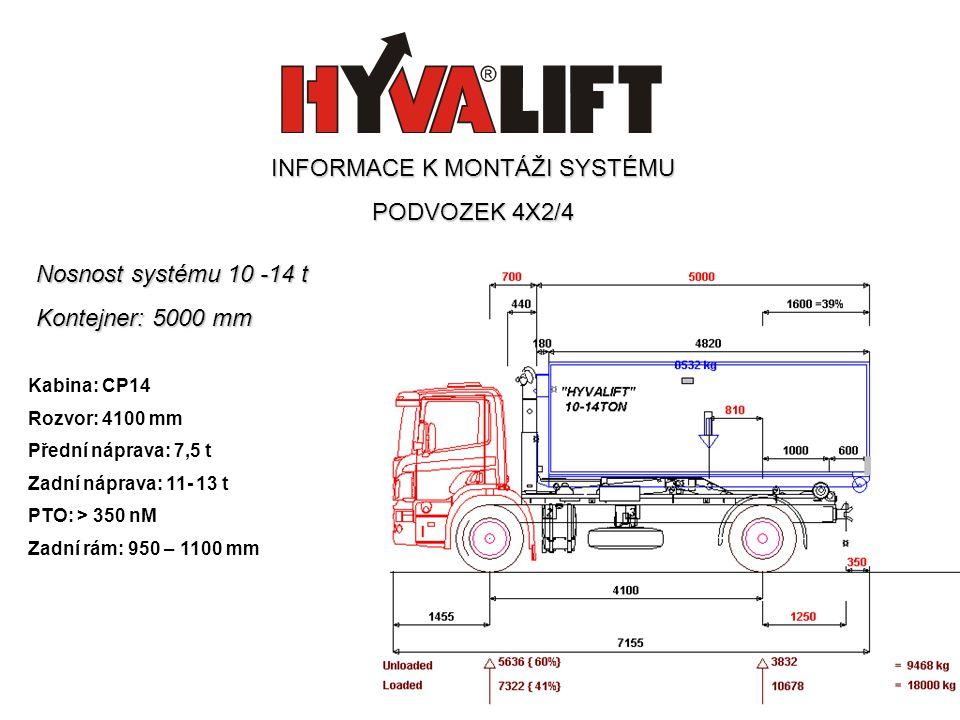 Nosnost systému 10 -14 t Kontejner: 5000 mm Kabina: CP14 Rozvor: 4100 mm Přední náprava: 7,5 t Zadní náprava: 11- 13 t PTO: > 350 nM Zadní rám: 950 – 1100 mm INFORMACE K MONTÁŽI SYSTÉMU PODVOZEK 4X2/4