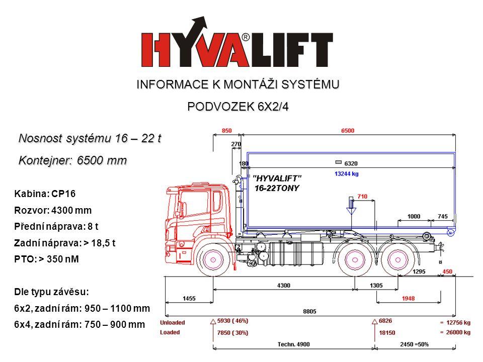 Nosnost systému 16 – 22 t Kontejner: 6500 mm Kabina: CP16 Rozvor: 4300 mm Přední náprava: 8 t Zadní náprava: > 18,5 t PTO: > 350 nM Dle typu závěsu: 6x2, zadní rám: 950 – 1100 mm 6x4, zadní rám: 750 – 900 mm INFORMACE K MONTÁŽI SYSTÉMU PODVOZEK 6X2/4