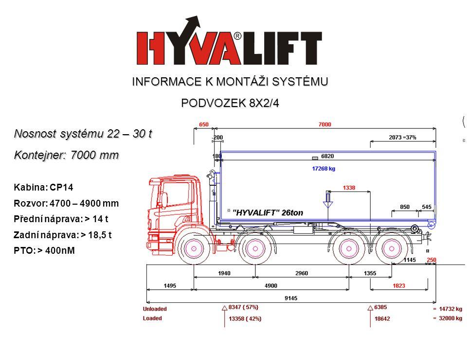 Nosnost systému 22 – 30 t Kontejner: 7000 mm Kabina: CP14 Rozvor: 4700 – 4900 mm Přední náprava: > 14 t Zadní náprava: > 18,5 t PTO: > 400nM INFORMACE K MONTÁŽI SYSTÉMU PODVOZEK 8X2/4