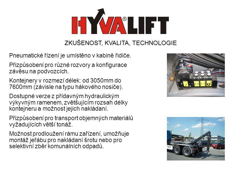 Pneumatické řízení je umístěno v kabině řidiče. Přizpůsobení pro různé rozvory a konfigurace závěsu na podvozcích. Kontejnery v rozmezí délek: od 3050