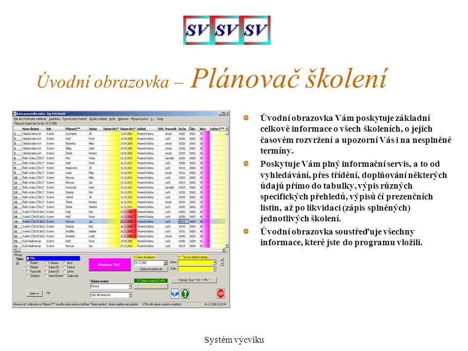 Systém výcviku Úvodní obrazovka – Plánovač školení Úvodní obrazovka Vám poskytuje základní celkové informace o všech školeních, o jejich časovém rozvr