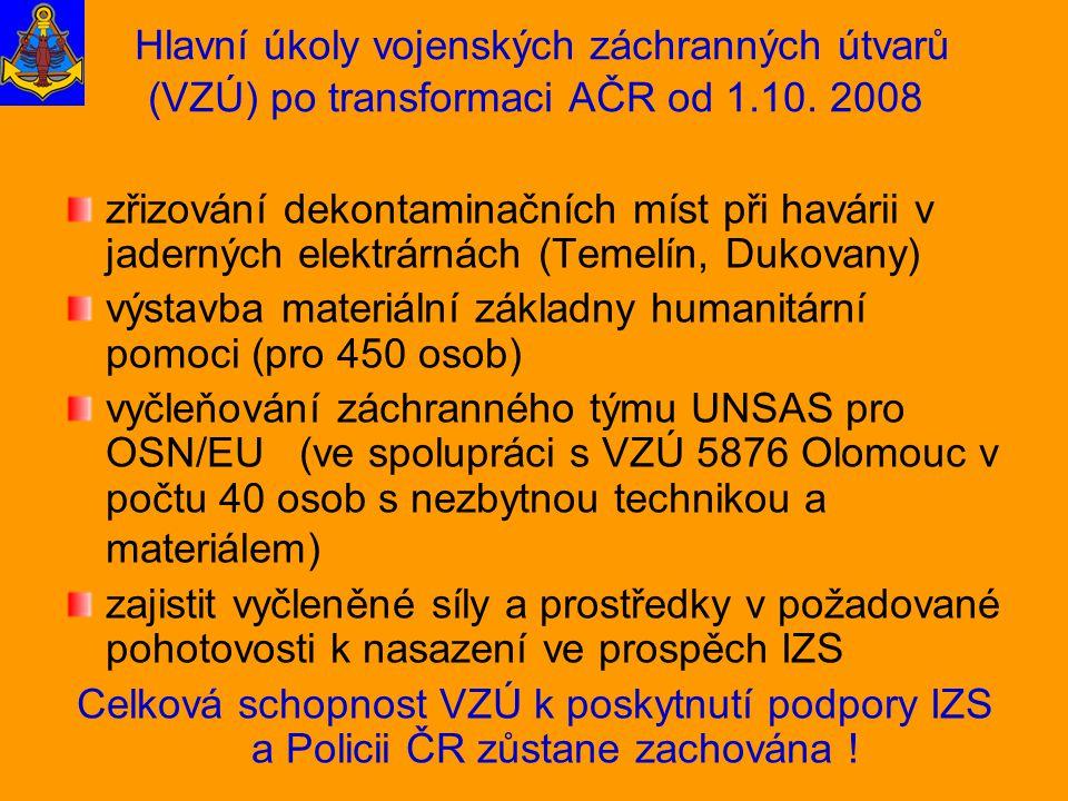 Hlavní úkoly vojenských záchranných útvarů (VZÚ) po transformaci AČR od 1.10. 2008 zřizování dekontaminačních míst při havárii v jaderných elektrárnác