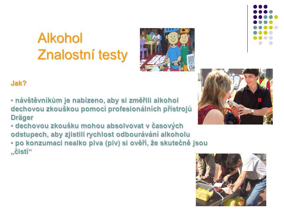 Alkohol Znalostní testy Jak? • návštěvníkům je nabízeno, aby si změřili alkohol dechovou zkouškou pomocí profesionálních přístrojů Dräger • dechovou z