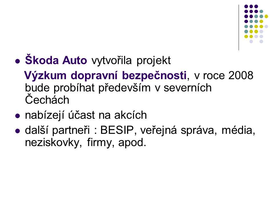  Škoda Auto vytvořila projekt Výzkum dopravní bezpečnosti, v roce 2008 bude probíhat především v severních Čechách  nabízejí účast na akcích  další