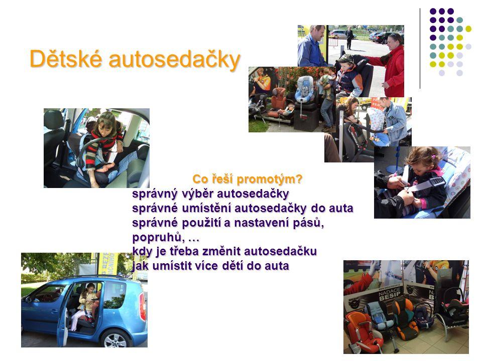Pasivní bezpečnost v autě • ukázka vystřeleného airbagu na volantu • maketa automobilu s ukázkou čelních, hlavových a bočních airbagů • ukázka upevnění systému ISOFIX
