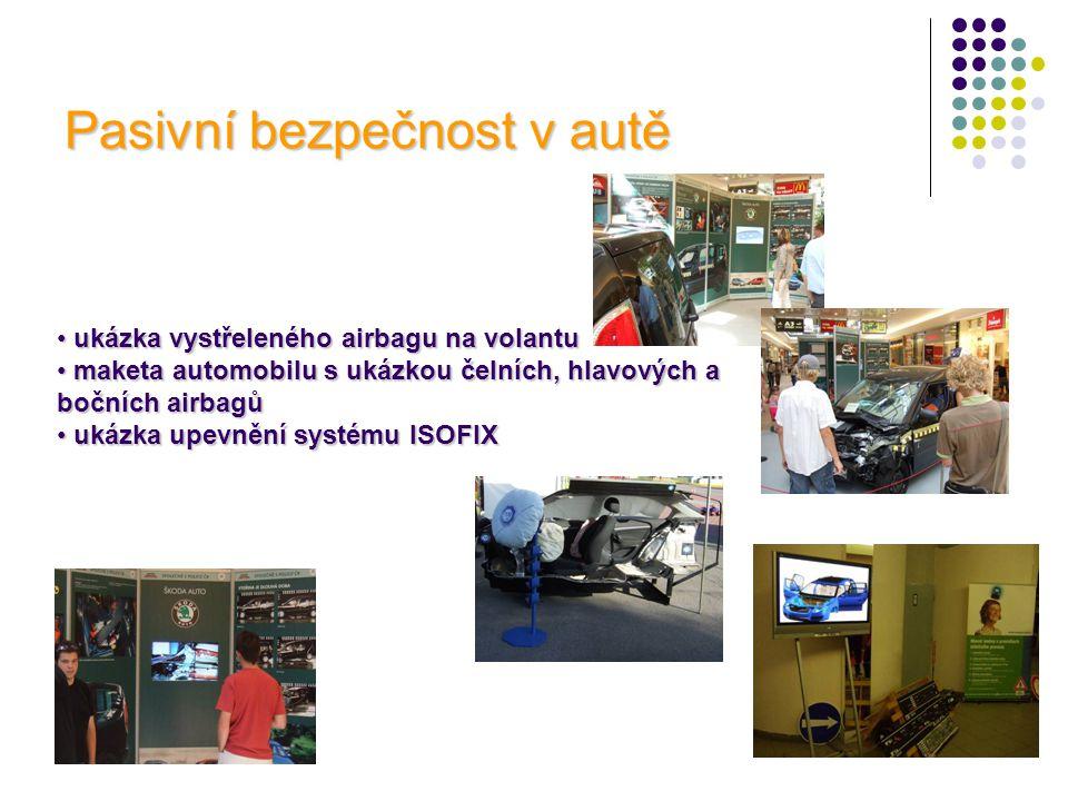 Pasivní bezpečnost v autě • ukázka vystřeleného airbagu na volantu • maketa automobilu s ukázkou čelních, hlavových a bočních airbagů • ukázka upevněn