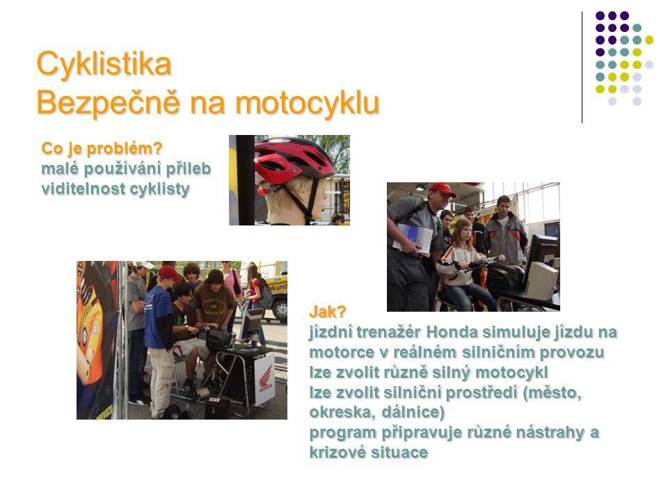 Cyklistika Bezpečně na motocyklu Co je problém? malé používání přileb viditelnost cyklisty Jak? jízdní trenažér Honda simuluje jízdu na motorce v reál