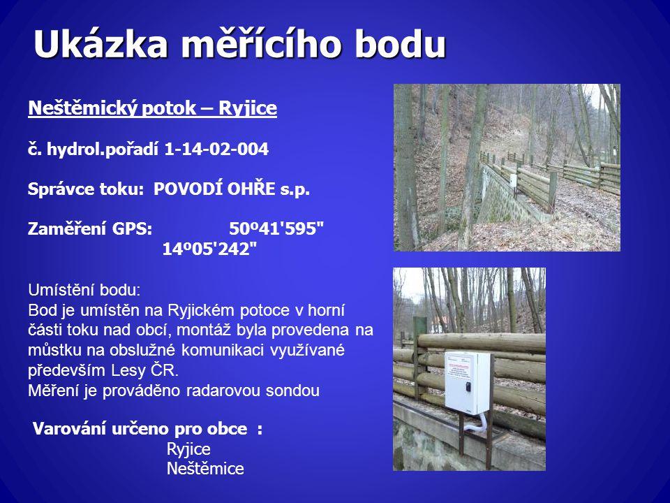 Ukázka měřícího bodu Neštěmický potok – Ryjice č. hydrol.pořadí 1-14-02-004 Správce toku: POVODÍ OHŘE s.p. Zaměření GPS: 50º41'595